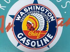 WASHINGTON CHIEF GASLOLINE top QUALITY porcelain coated 18 GAUGE steel SIGN