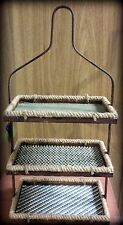 "NWT Shelving for Table or Wall, Each Woven Shelf a Different Design & Color 27""T"