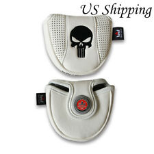 White SKULL Golf Mallet Putter Cover Magnetic with Metal Ball Maker For Odyssey