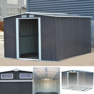 XXL 10 x 8FT SHED Outdoor Storage Metal Garden Shed Grey House +Steel Foundation