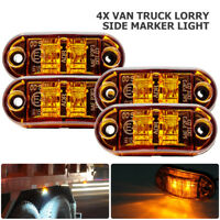 4X LED Amber Car Side Marker Lights Indicator Trailer Truck Lorry Lamp 12/24V