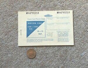 British Motor Fuel Ration Book Motor Car 1101-150 CC UNUSED 4780218 #B1