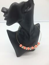 Fashion Beaded Wire Necklace Pink/Gold