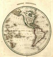 Western Hemisphere world map Pacific Ocean South North America 1835 Bradford map
