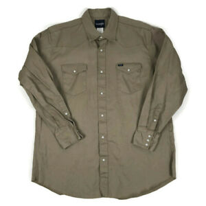 Wrangler Heavyweight Pearl Snap Western Work Shirt Tan Brown Size 2XT 2X Tall