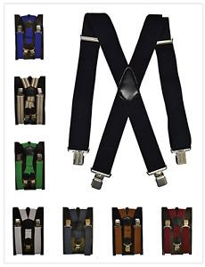 Herren Damen Long Hosenträger X Form Style 4cm Breit 3/4  Clips elastisch