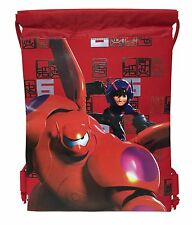 2x Disney Red Big Hero 6 Baymax Hiro Wassabi Boys Drawstring Sport Gym Tote Bag