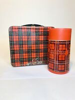 Vintage Red Tartan Plaid Aladdin Metal Lunchbox WITH Thermo Cup