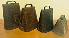 Lot of 4 Antique Vintage Metal Cow Bells Rustic Farm Animal Bells Goat Primitive