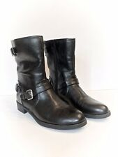 Unisa Women's Black Faux Leather Buckle & Zipper Mid-Calf Booties Boots, 8M NEW