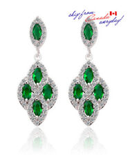 18K GP Elegant Emerald & Clear Color Cubic Zirconia Bridal Party Dangle Earring