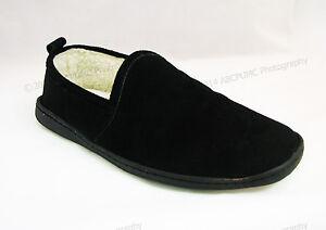 Dearfoams Men's Suede Leather Fur Inside Close Back Slippers Black Shoes, Sizes
