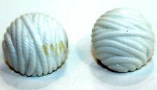 Trifari White Rope Ball Earrings Clip On set Vintage 1960's Plastic Set
