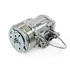 Chrome Mini AC Compressor - Sanden SD-7 Style - Serpentine Pulley #HC5005C