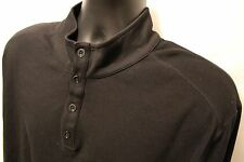 Men's Madison 100% Ultra Pima Cotton Henley Black Sweater Pullover Sz 2XL XXL