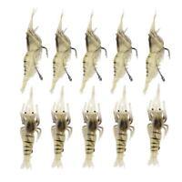 10 Pcs Shrimp Fishing Simulation Soft Prawn Lure Hook Tackle Bait Sea Fishing D8