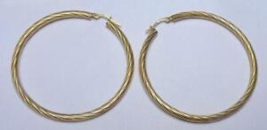 PAIR  9 CARAT GOLD LARGE 2 INCH DIAMETER HOOP EARRINGS WEIGHT 3.2 GRAMS