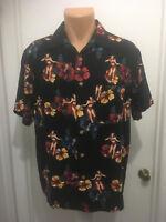 Knightsbridge Mens Hawaiian Shirt Hibiscus Hula Girls Rayon Short Sleeves L