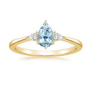 Real 1.55 Ct Diamond Proposal Aquamarine Ring Solid 14K Yellow Gold Size M N O P