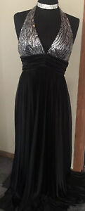 MASQUERADE $130 Black HALTER TOP Evening Prom/Formal Gown M