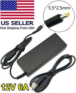 12V 6A Adapter for Security Cameras, LED Strip, LCD Monitor and More