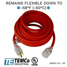 Temco 40ft Cold Weather Generator Cord Red Nema L14 30 125250v 30a Ul
