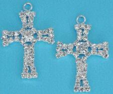 5x Diamante Crystal Silver Plated Cross Pendants Charms Wedding Embelishment