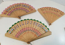 Vintage Hand Fan Wooden Hand Painted Pierced Lot of 3 Philippines