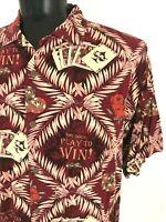 Big Dogs Authentic Shirt Poker Casino Play To Win Hawaiian Shirt Burgundy Large
