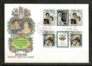 Aitutaki 1982 The 21st Anniversary of the Birth of Diana - Pairs FDC - Mint 1