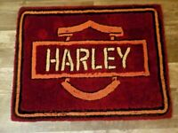 Vtg Handmade Harley Davidson Wool Motorcycle Throw Rug Man Cave Shield Carpet