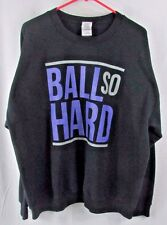 Ball So Hard men's XL crewneck pullover crew sweatshirt black purple Gildan