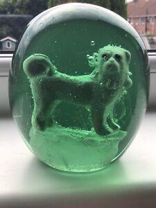 VICTORIAN GREEN GLASS DUMP SULPHIDE DOG PAPERWEIGHT