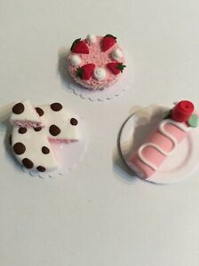 Doll's House Girls Birthday Cakes. Pink. Handmade.12th Scale. New