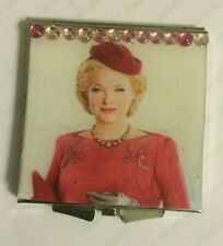 Collector War Paint Christine Ebersole Silver Square Mirror Compact w/ Crystals