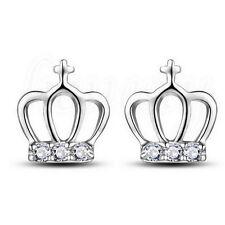 1 Pair Women 925 Silver Crystal Rhinestone Pearl Ear Stud Earrings Jewelry Crown