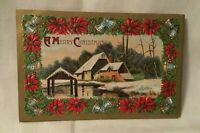 Antique Embossed Christmas Postcard A MERRY CHRISTMAS poinsettia flowers