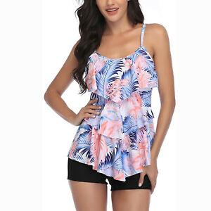 Women 2 Piece Flounce Printed Top With Boyshorts Tankini Swimwear Bikini Set