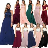 Womens Bridesmaid Wedding Maxi Prom Dress Diamante Fitted Long Fishtail Party