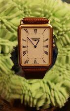 "Classic 18 K Gold Men's Rectangular Longine Wristwatch "" Longine Thin"""