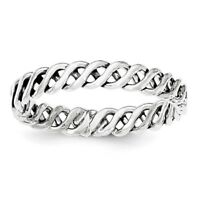 Ladies 925 Sterling Silver Polished & Antiqued 3.5mm Weaved Band Ring Size 6 - 8