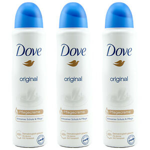 Dove ORIGINAL Deo Spray Pflegecreme 3 x 150 ml 48H 0% Alcohol Anti Transpirant