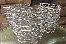 "Multi use Silver Wire Metal Basket Oval - 8"" X 4.5"" X 4"" - Lot of 4"