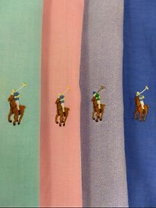 LOT 4 Ralph Lauren Mens Button Dress Shirts Long Sleeve Blue Pink Green Large 16