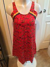 In-sattva Global Desi Women's Dress NWT Sleeveless, Red Patterned Medium