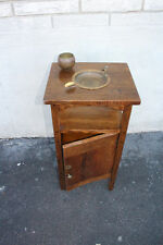 Charming Cushman Arts & Crafts Oak Cigar Cabinet Stand with Ashtray, Signed