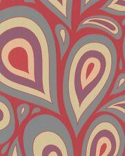 Vlies Tapete Marburg NENA 57203 Retro Desgin Tropfen Rot Grau Lila Gelb Struktur