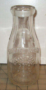"Vintage SURREY FARMS DAIRY ""Bauer"" 7 & 1/2"" Tall Empty Clear MILK BOTTLE"