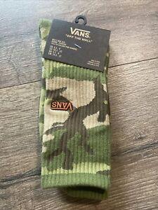 Vans Crew Socks Logo Camo Camouflage Green  Size Men's 6,5-9