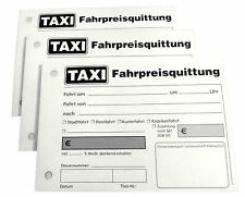 20x TAXI-Fahrpreis-Quittung Taxiquittung 100 Blatt TAXI-Quittung gelocht (22429